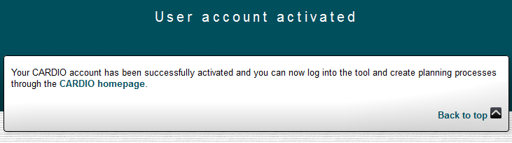 CARDIO Account Activation