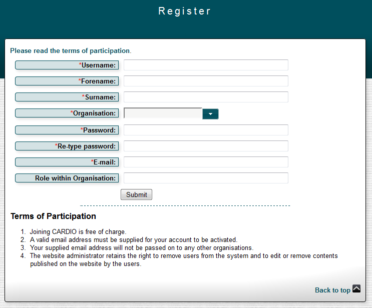 CARDIO Registration Form